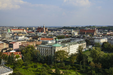 Krakow city view, from Sandomierska tower of Wawel castle, top attraction in Krakow, Poland.