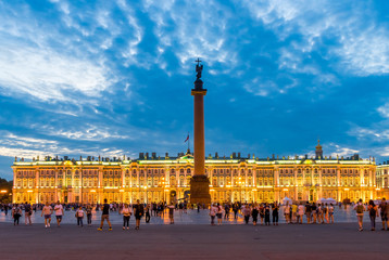 Brightly lit Palace Square in St. Petersburg at sunset. Russia