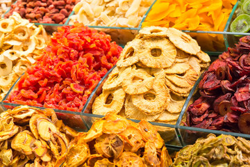Various dried fruits on the Grand Bazaar in Istanbul, Turkey