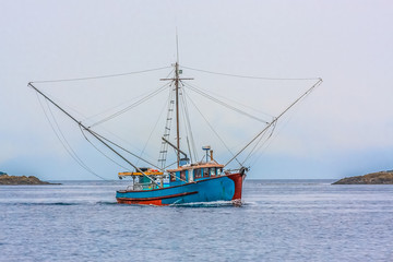 Blue Shrimp Boat on Grey Day