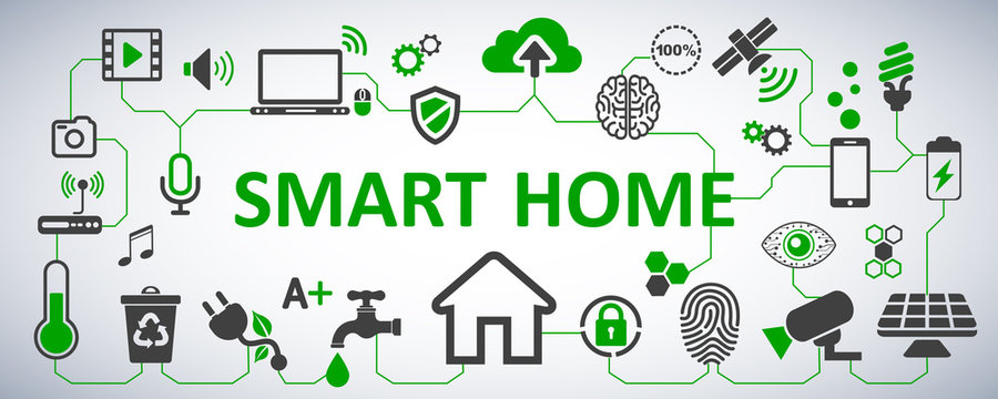 Futuristic interface of smart home automation assistant. Control system. Innovation technology network concept