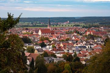 Kreisstadt Mindelheim im Allgäu - Stadtblick von der Mindelburg aus