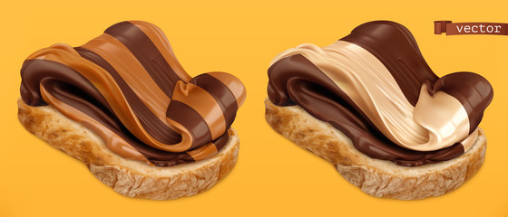 Chocolate swirl on bread 3d vector realistic icon