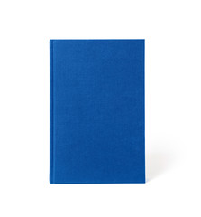 Blue standing hardcover book isolated, front view. Cover made of natural linen fabric with uneven rough texture.