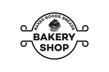 Vintage emblem cupcake, Bread bakery Logo inspiration isolated on white background