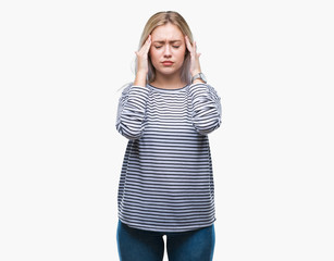 Young blonde woman over isolated background with hand on head for pain in head because stress. Suffering migraine.