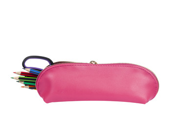 Pink pencil case with pencils protruding