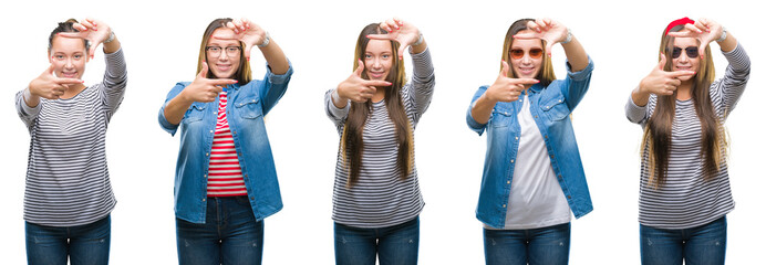 Collage of young beautiful brunette girl over white isolated background smiling making frame with hands and fingers with happy face. Creativity and photography concept.