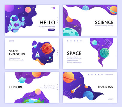 set of web banners templates. presentation. space explore. children cartoon vector illustration. science