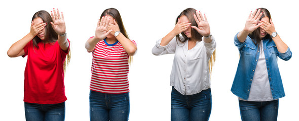 Collage of young beautiful girl over white isolated background covering eyes with hands and doing stop gesture with sad and fear expression. Embarrassed and negative concept.