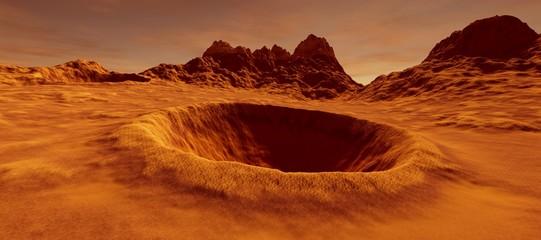 Extremely detailed and realistic high resolution 3D illustration of a big crater on mars like landscape