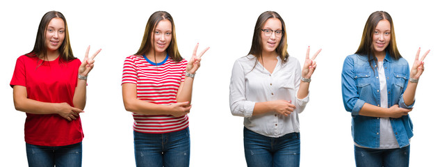 Collage of young beautiful girl over white isolated background smiling with happy face winking at the camera doing victory sign. Number two.