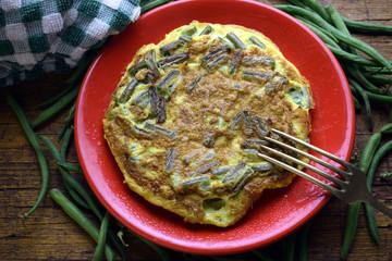 Frittata con le tegoline フリッタータ Ֆրիտատա with beans ft81100015 פריטטה Cucina italiana Italian cuisine Green bean
