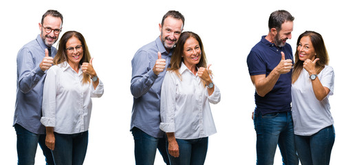 Collage of middle age mature beautiful couple of senior wife and husband over white isolated background doing happy thumbs up gesture with hand. Approving expression looking at the camera