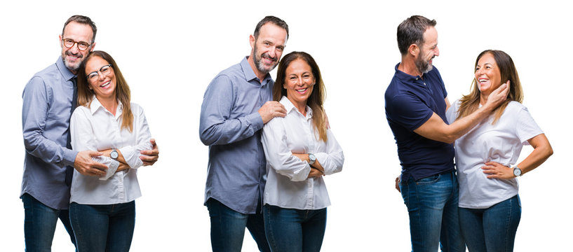Collage of middle age mature beautiful couple of senior wife and husband over white isolated background happy face smiling with crossed arms looking at the camera. Positive person.