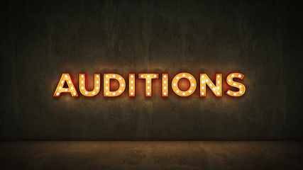 Neon Sign on Brick Wall background - Auditions. 3d rendering