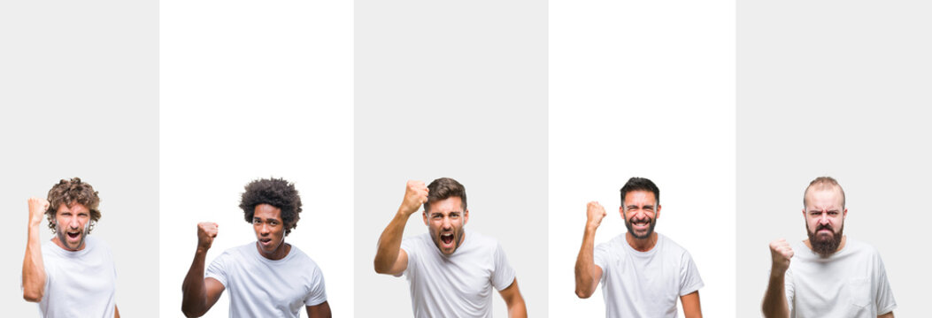 Collage of young caucasian, hispanic, afro men wearing white t-shirt over white isolated background angry and mad raising fist frustrated and furious while shouting with anger. Rage and aggressive