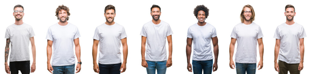 Collage of young caucasian, hispanic, afro men wearing white t-shirt over white isolated background with a happy and cool smile on face. Lucky person.