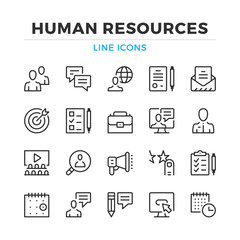 Human resources line icons set. Modern outline elements, graphic design concepts, simple symbols collection. Vector line icons