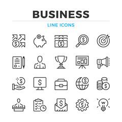 Business line icons set. Modern outline elements, graphic design concepts, simple symbols collection. Vector line icons