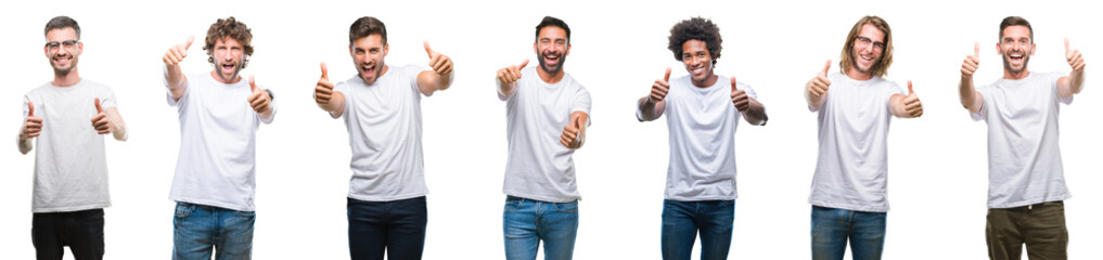 Collage of young caucasian, hispanic, afro men wearing white t-shirt over white isolated background approving doing positive gesture with hand, thumbs up smiling and happy for success