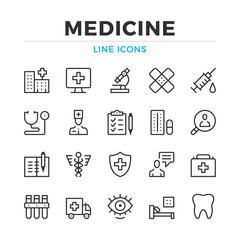 Medicine line icons set. Modern outline elements, graphic design concepts, simple symbols collection. Vector line icons