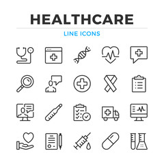 Healthcare line icons set. Modern outline elements, graphic design concepts, simple symbols collection. Vector line icons