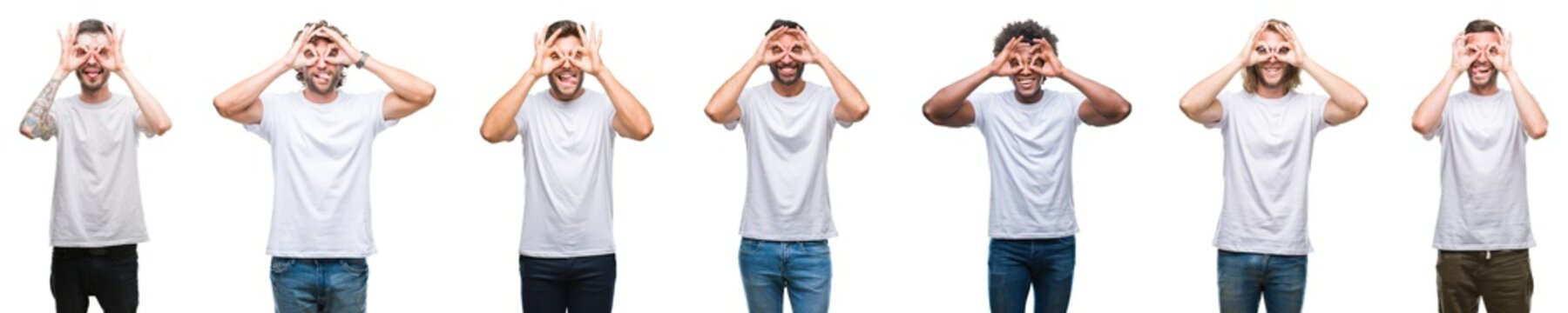 Collage of young caucasian, hispanic, afro men wearing white t-shirt over white isolated background doing ok gesture like binoculars sticking tongue out, eyes looking through fingers