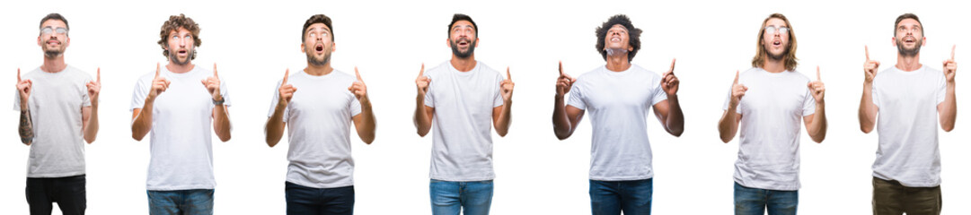Collage of young caucasian, hispanic, afro men wearing white t-shirt over white isolated background amazed and surprised looking up and pointing with fingers and raised arms.