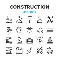 Construction line icons set. Modern outline elements, graphic design concepts, simple symbols collection. Vector line icons