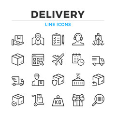 Delivery line icons set. Modern outline elements, graphic design concepts, simple symbols collection. Vector line icons