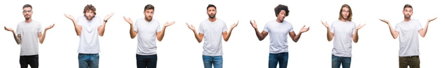 Collage of young caucasian, hispanic, afro men wearing white t-shirt over white isolated background clueless and confused expression with arms and hands raised. Doubt concept.