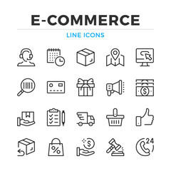E-commerce line icons set. Modern outline elements, graphic design concepts, simple symbols collection. Vector line icons