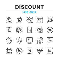 Discount line icons set. Modern outline elements, graphic design concepts, simple symbols collection. Vector line icons