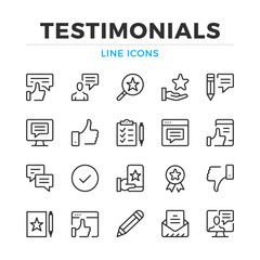 Testimonials line icons set. Modern outline elements, graphic design concepts, simple symbols collection. Vector line icons