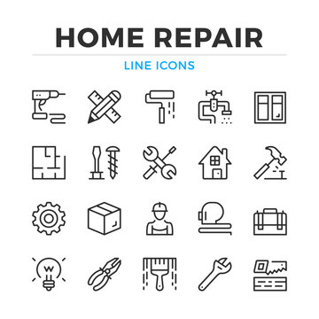 Home repair line icons set. Modern outline elements, graphic design concepts, simple symbols collection. Vector line icons