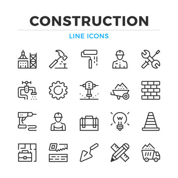 Construction line icons set. Modern outline elements, graphic design concepts, simple symbols collection. Vector line icons