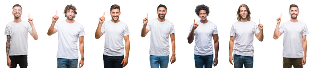 Collage of young caucasian, hispanic, afro men wearing white t-shirt over white isolated background showing and pointing up with finger number one while smiling confident and happy. Fotomurales