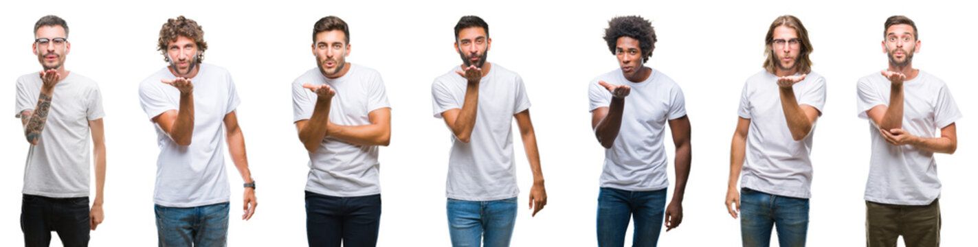 Collage of young caucasian, hispanic, afro men wearing white t-shirt over white isolated background looking at the camera blowing a kiss with hand on air being lovely and sexy. Love expression.