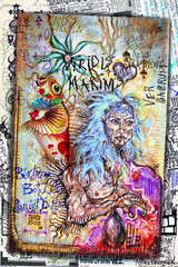 Foto op Canvas Imagination Shaman. Esoteric graffiti and manuscripts with alchemical draws