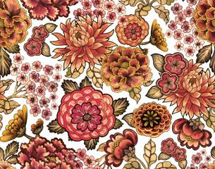 Seamless asian traditional patterns. Japanese painted flowers peonies, chrysanthemums, dahlias