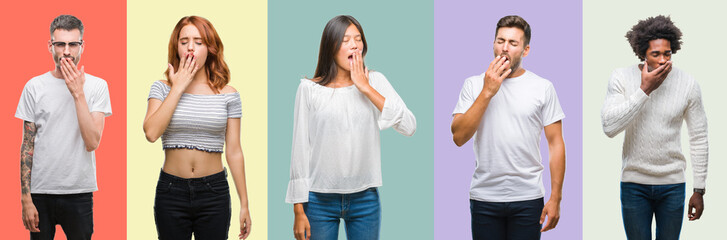 Composition of african american, hispanic and chinese group of people over vintage color background bored yawning tired covering mouth with hand. Restless and sleepiness.