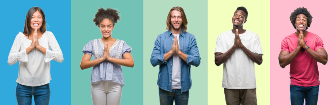 Composition of african american, hispanic and chinese group of people over vintage color background praying with hands together asking for forgiveness smiling confident.