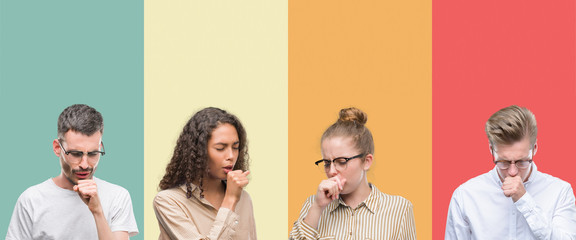 Collage of a group of people isolated over colorful background feeling unwell and coughing as symptom for cold or bronchitis. Healthcare concept.