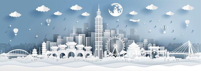 Fototapete - Panorama postcard of world famous landmarks of Taipei in paper cut style vector illustration