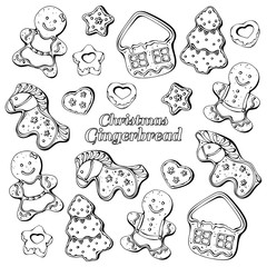 Group of vector illustrations on the New Year Traditions theme; set of different kinds of Christmas gingerbread.