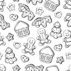 Pattern of vector illustrations on the New Year Traditions theme; set of different kinds of Christmas gingerbread.
