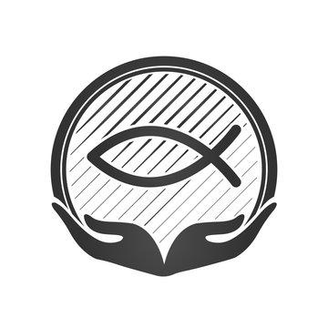 Hand and Jesus fish, christian symbol or logo. vector illustration.