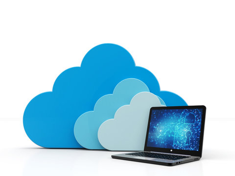 Cloud Computing Concept. Cloud with Computer in white background. 3d render