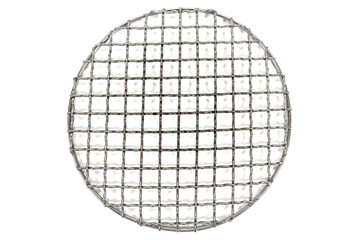 Round grate grill stainless steel isolated on white background